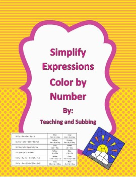 Simplify Expressions Color by Number