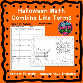 Simplify Expressions - Combine Like Terms Halloween Math Activity Bundle