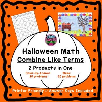 Halloween Math Activities Combine Like Terms Bundle Distance Learning + PDF
