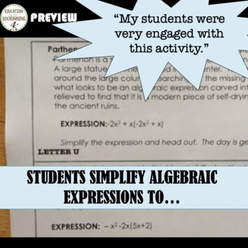 Simplify expressions activity - combine like terms & distributive property