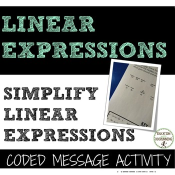 Simplify Expressions Coded message Activity with mixed expressions