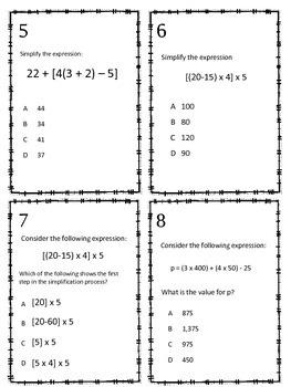 Simplify Expressions TEKS 5.4F Task Cards