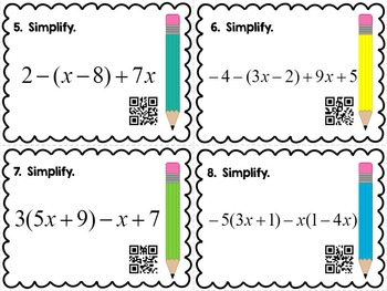Simplify Expressions Task Cards Common Core Aligned