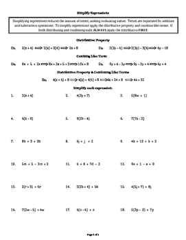 Simplify Expressions (all positive integers)