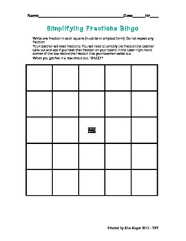 Simplify Fraction Bingo