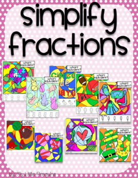 Simplify Fractions Bundle Worksheets (9 worksheets) no prep