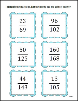 Simplify Fractions Lift-the-Flap or Matching - Grades 4-8