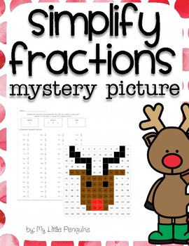 Simplify Fractions Mystery Picture Holiday Reindeer