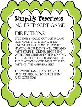 Simplify Fractions Sort Game