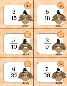 Simplify Fractions Thanksgiving Task Cards