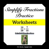 Simplify Fractions Worksheets for Practice (3 worksheets)