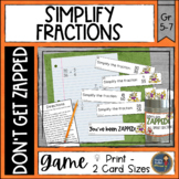 Simplify Fractions Don't Get ZAPPED Math Game