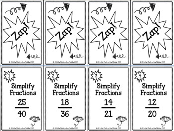 Simplify Fractions Zap Cards