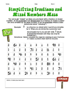 Simplify Fractions and Mixed Numbers Maze (Activity or Homework)