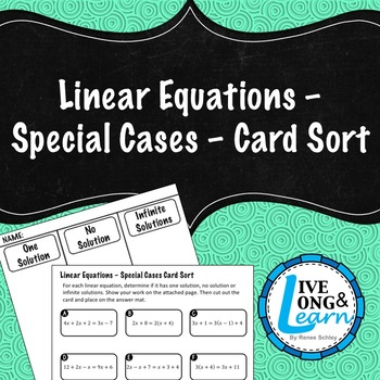Simplify Linear Equations - Special Cases - Card Sort