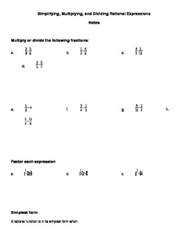 Simplify Multiply and Divide Rational Expressions Notes