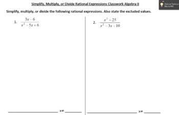 Simplify, Multiply or Divide Rational Expressions Stations Activity/Worksheet