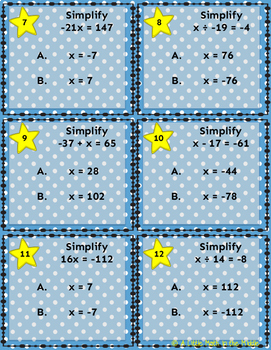 Simplify One Step Equations ISN Notes and Task Cards TEKS 6.10A