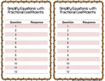 Simplify One Step Equations with Fractional Coefficients, TEKS 6.10A