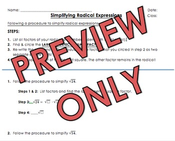 Simplify Radical Expressions (2 Days with Intro, Coefficients, Variables)