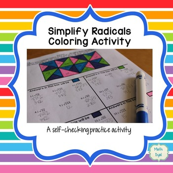 Simplify Radical Expressions Coloring Activity