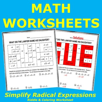 Simplify Radical Expressions Riddle & Coloring Worksheet