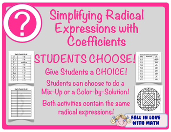 Simplify Radical Expressions with Coefficients Students Choose!