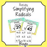 Simplify Radicals BINGO