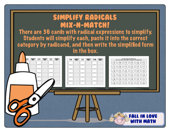 Simplify Radicals Mix-N-Match!