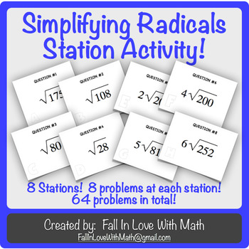 Simplify Radicals Station Activity