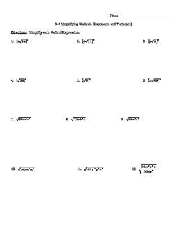 Simplify Radicals Worksheet