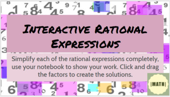 Simplify Rational Expressions Interactive PLUS printable version