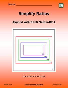 Simplify Ratios Practice Packet - 6.RP.1