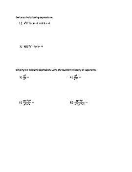 Simplify and Evaluate Expressions with Integer and Zero Exponents