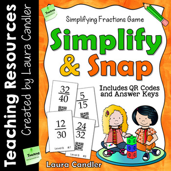 Simplifying Fractions Game with Task Cards and QR Codes
