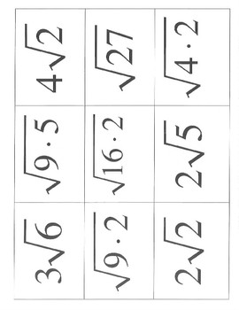 Simplify square roots radicals matching steps activity equivalent forms decimal