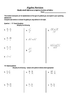Simplify sum (& differences) of algebraic fractions and indices