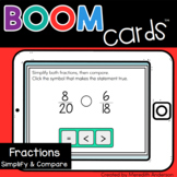 Simplifying and Comparing Fractions Distance Learning Boom Cards