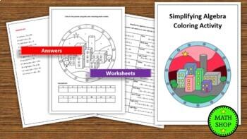Simplifying Algebra Coloring Activity – Math Printable