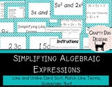 Simplifying Algebraic Expressions Activity Set {3 activities!}