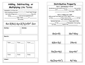 Simplifying Algebraic Expressions Book