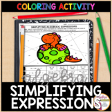 Simplifying Algebraic Expressions Coloring Activity