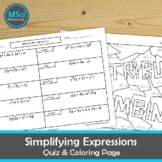 Simplifying Algebraic Expressions Coloring and Quiz Page Pre Algebra Test Prep