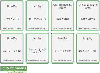 Simplifying Algebraic Expressions Differentiated Board Game