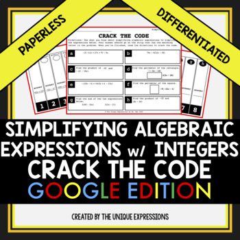 Simplifying Algebraic Expressions Crack The Code Digital Activity