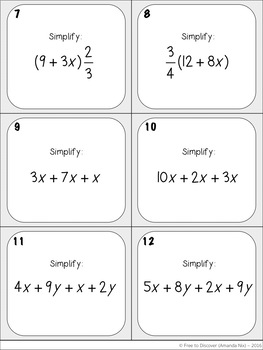 Simplifying Algebraic Expressions (Distributive Property & Combining Like Terms)