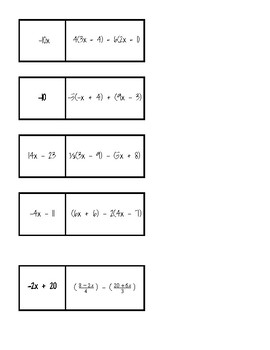 Simplifying Algebraic Expressions Dominoes