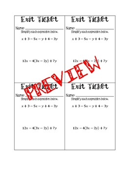 Simplifying Algebraic Expressions Exit Ticket