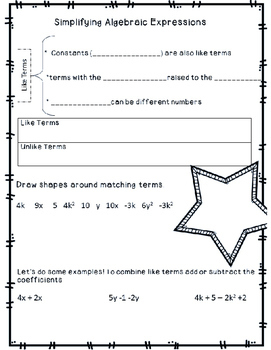 Simplifying Algebraic Expressions Guided Notes