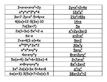 Simplifying Algebraic Expressions Match